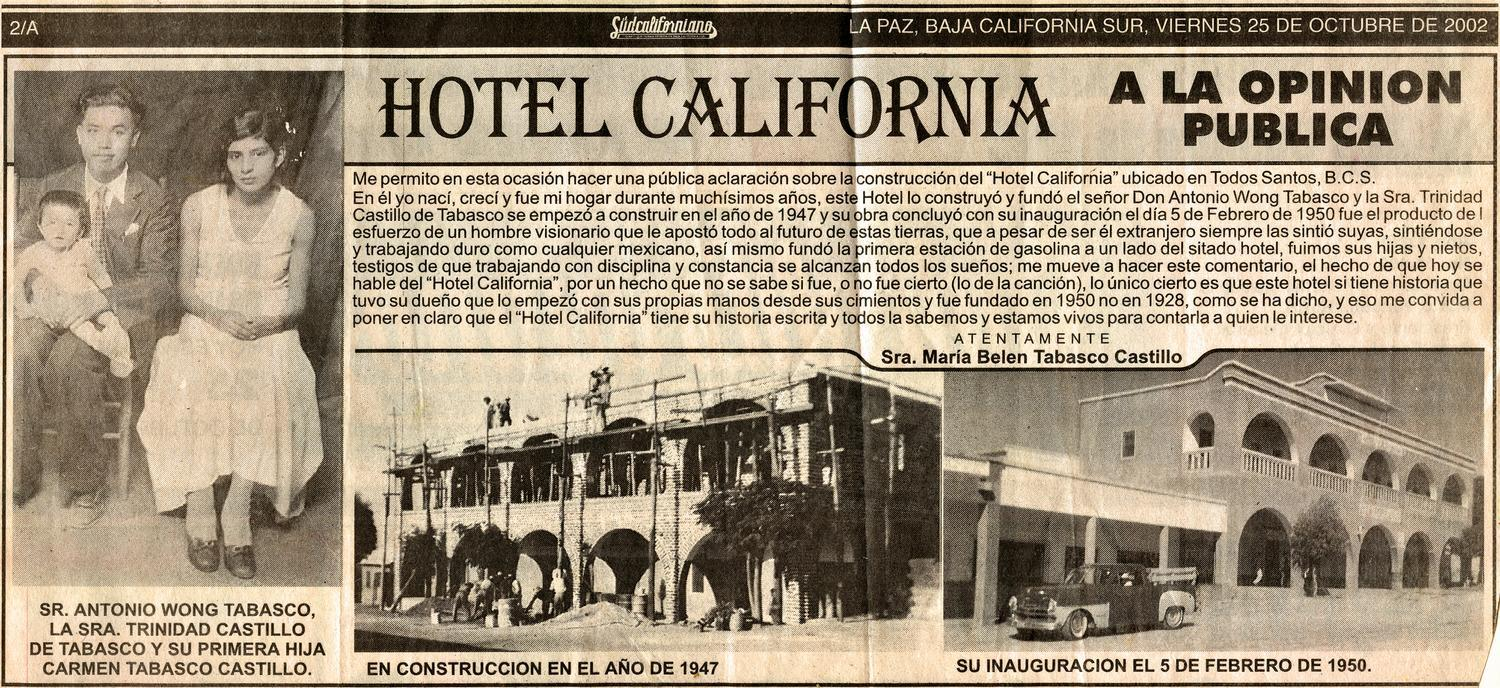 THE ARTICLE OF HOTEL CALIFORNIA